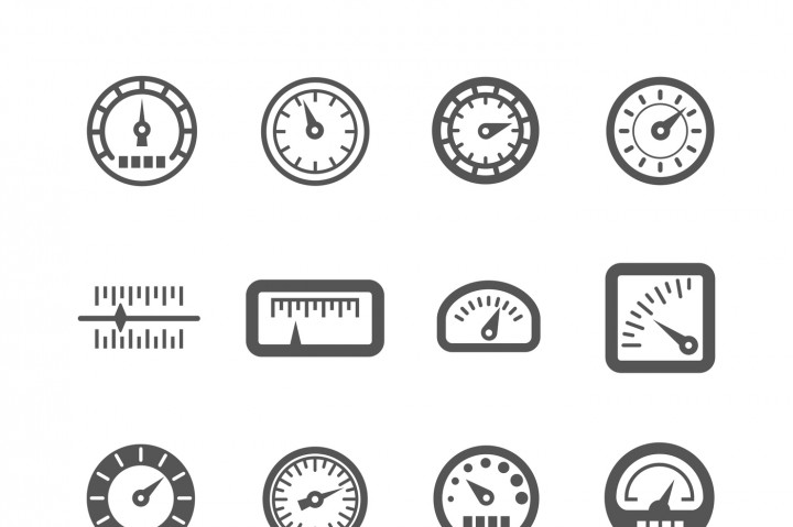 720x479 Meter, Control Panel, Speedometer Vector Icons Set By Microvector