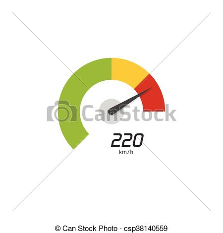 450x470 Speedometer Vector Icon Isolated On White Background, Flat Digital