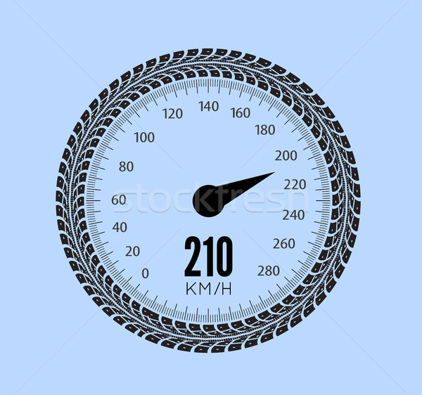600x562 Speedometer Vector Illustration. Styling By Tire Tracks. Vector