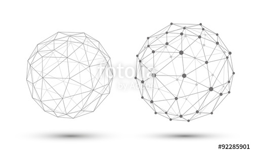 500x300 Abstract Vector Sphere. Connection Structure. Geometric Modern