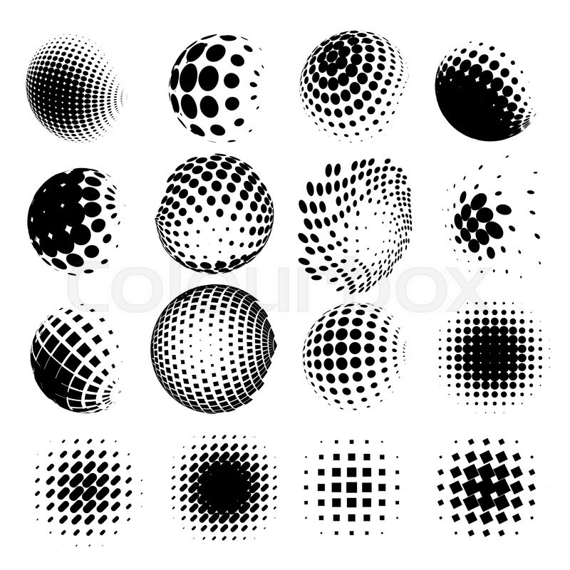 800x800 Collection Of Halftone Dot Sphere Vector Logo Set. Abstract Globe