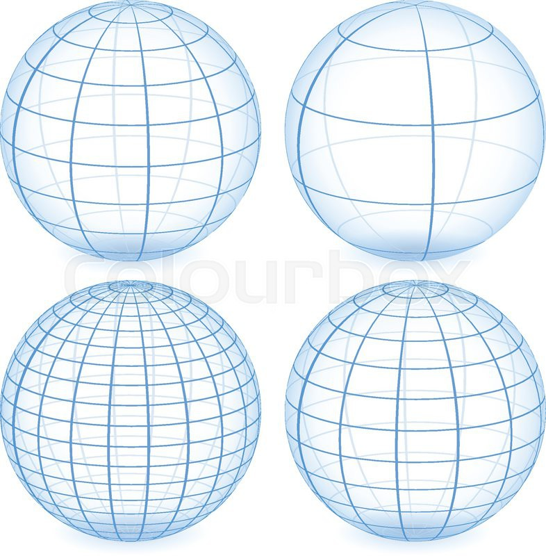 786x800 Eps 10 Vector Illustration Of Gridded Wire Frame Sphere With Less