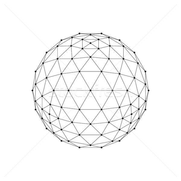 600x600 3d Octahedron Wireframe Mesh Sphere. Network Line, Hud Design
