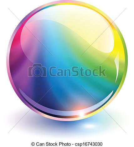 428x470 3d Sphere Rainbow Colors, Vector Illustration.