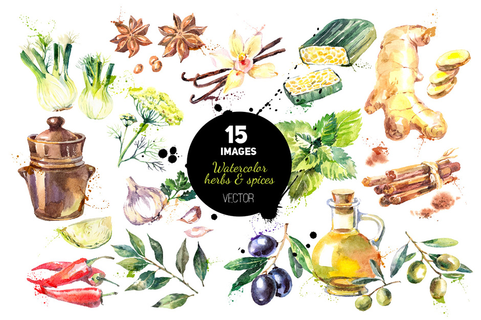 940x626 Watercolor Herbs And Spices Vector Set