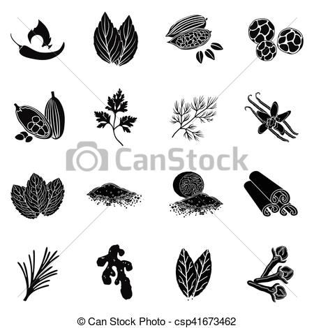 450x470 Herb And Spices Set Icons In Black Style. Big Collection Of Herb