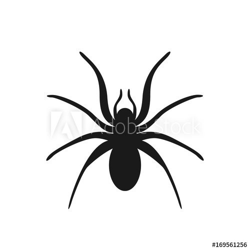500x500 Scary Spider Isolated On Background. Halloween Spider. Vector