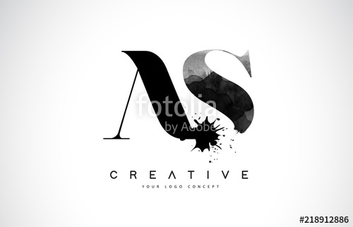 500x322 As A S Letter Logo Design With Black Ink Watercolor Splash Spill