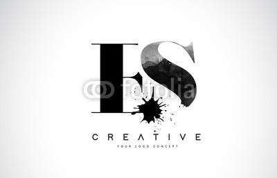 400x257 Es E S Letter Logo Design With Black Ink Watercolor Splash Spill