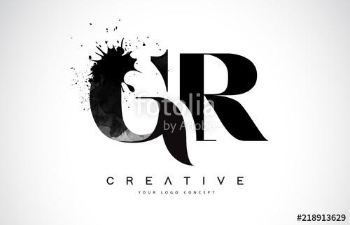 500x322 Gr G R Letter Logo Design With Black Ink Watercolor Splash Spill