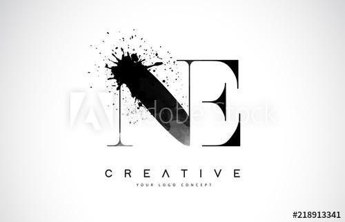 500x322 Ne N E Letter Logo Design With Black Ink Watercolor Splash Spill