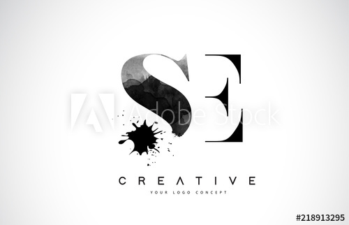500x322 Se S E Letter Logo Design With Black Ink Watercolor Splash Spill