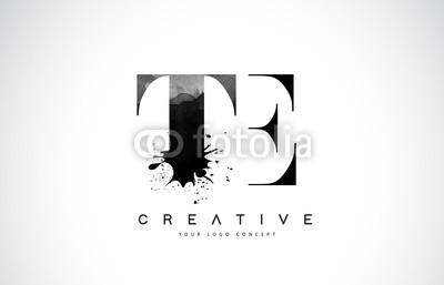 400x257 Te T E Letter Logo Design With Black Ink Watercolor Splash Spill
