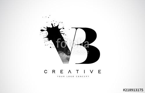 500x322 Vb V B Letter Logo Design With Black Ink Watercolor Splash Spill