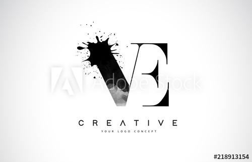 500x322 Ve V E Letter Logo Design With Black Ink Watercolor Splash Spill