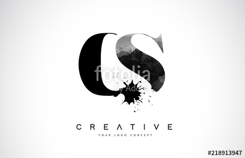 500x322 Cs C S Letter Logo Design With Black Ink Watercolor Splash Spill