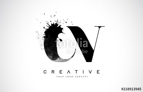 500x322 Cv C V Letter Logo Design With Black Ink Watercolor Splash Spill