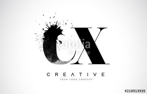 500x322 Cx C X Letter Logo Design With Black Ink Watercolor Splash Spill