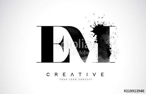 500x322 Em E M Letter Logo Design With Black Ink Watercolor Splash Spill