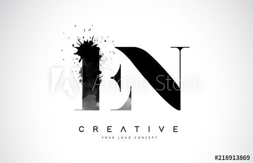 500x322 En E N Letter Logo Design With Black Ink Watercolor Splash Spill
