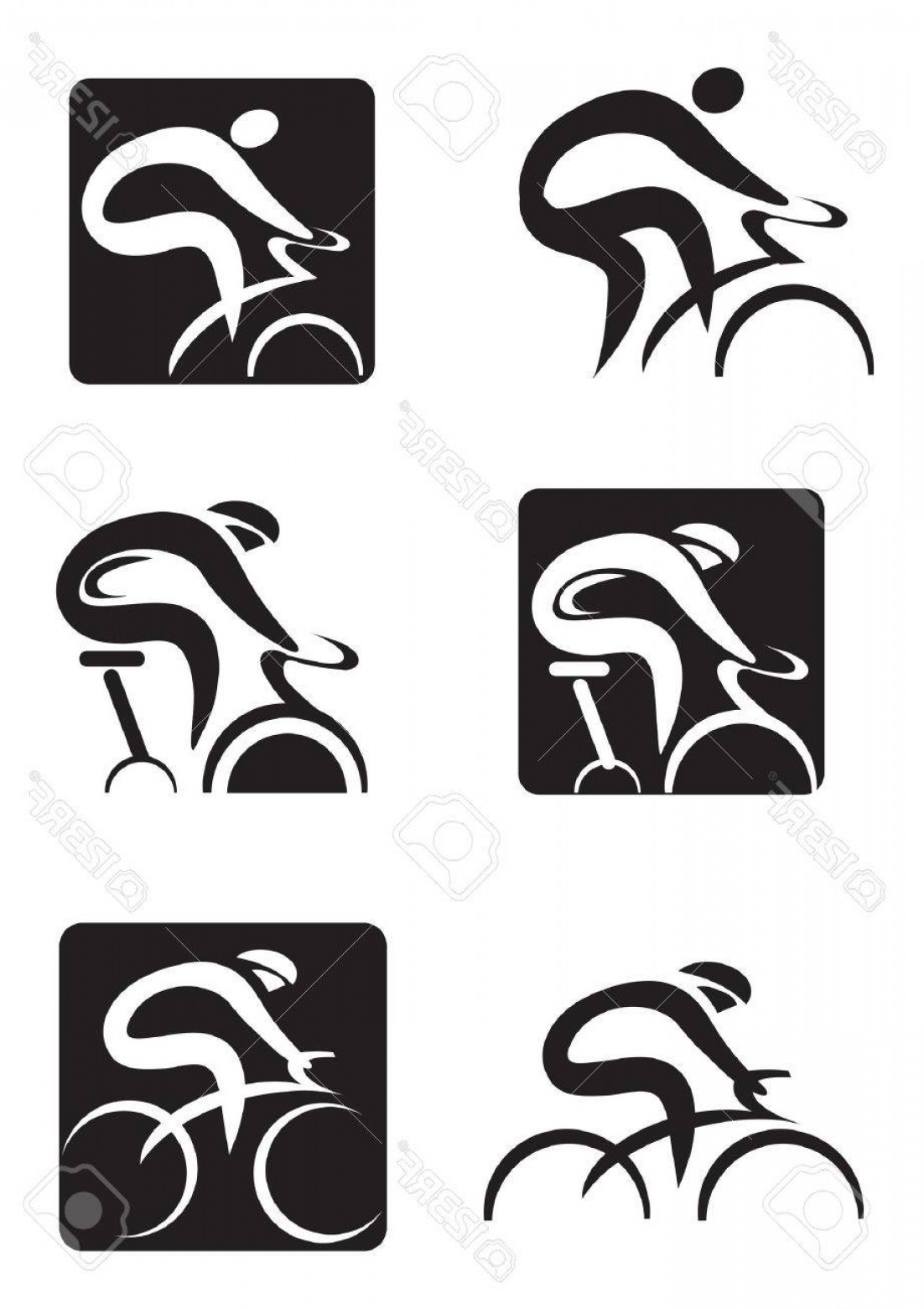 1102x1560 Photostock Vector Set Of Black Icons Of Spinning And Cycling