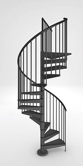 275x550 External Spiral Staircase. Galvanised In Black 1200mm Diameter