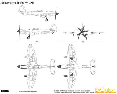 400x322 Supermarine Spitfire Mk Xxii Vector Drawing