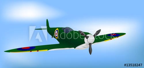 500x237 British Green Raf Ww2 Spitfire