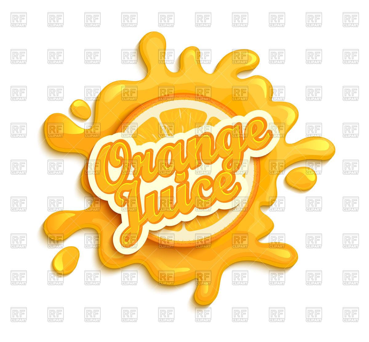 1200x1113 Orange Juice Emblem With Splash On White Background Vector Image