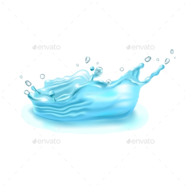 590x590 Realistic Water Splash On White Background. Vector By Maria Averburg