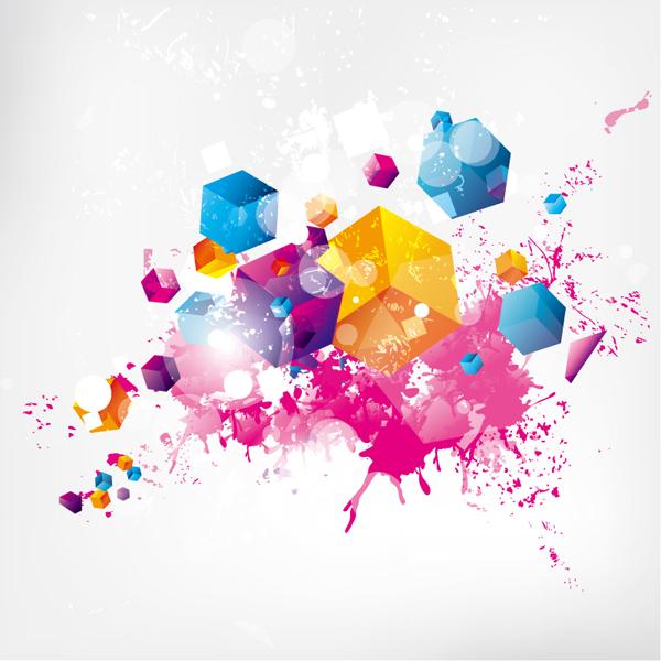 600x600 Splash Color Cube Background Eps Format Free Vector Download