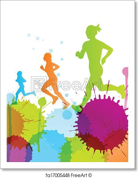 450x580 Free Art Print Of Runners Abstract Color Splash Vector Background