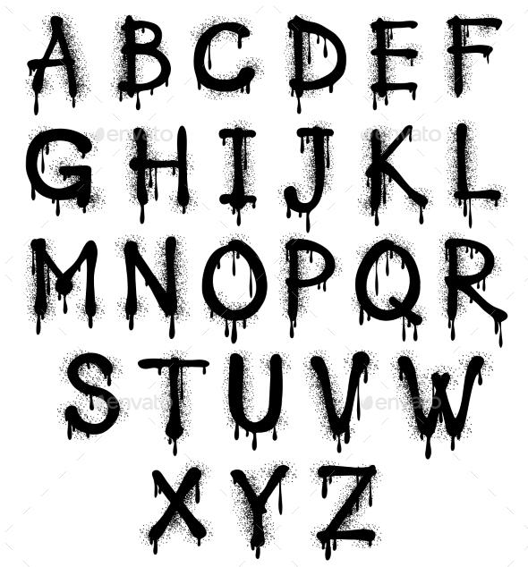 590x634 Graffiti Splash Vector Alphabet, Font, Grunge Text By Microvone