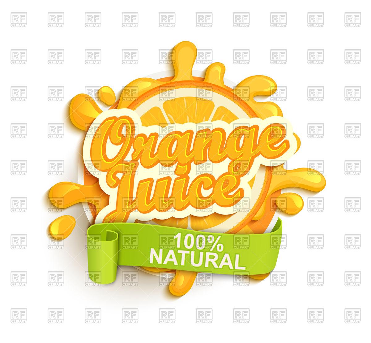 1200x1112 Orange Juice Label Splash Vector Image Vector Artwork Of Food