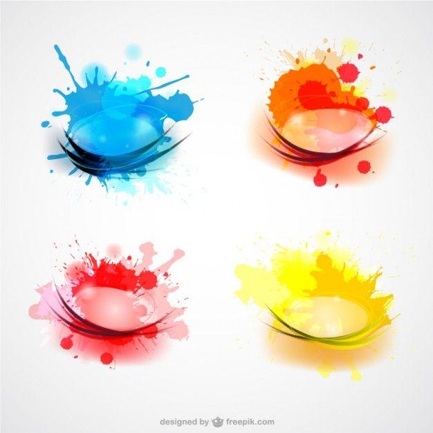 626x626 Color Splashes Set Free Vector Free Vectors Colour