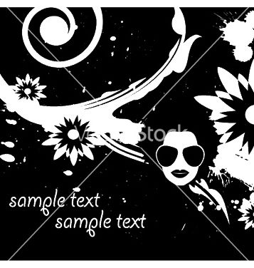 357x376 Free Floral Background With Funky Face And Splash Vector Free