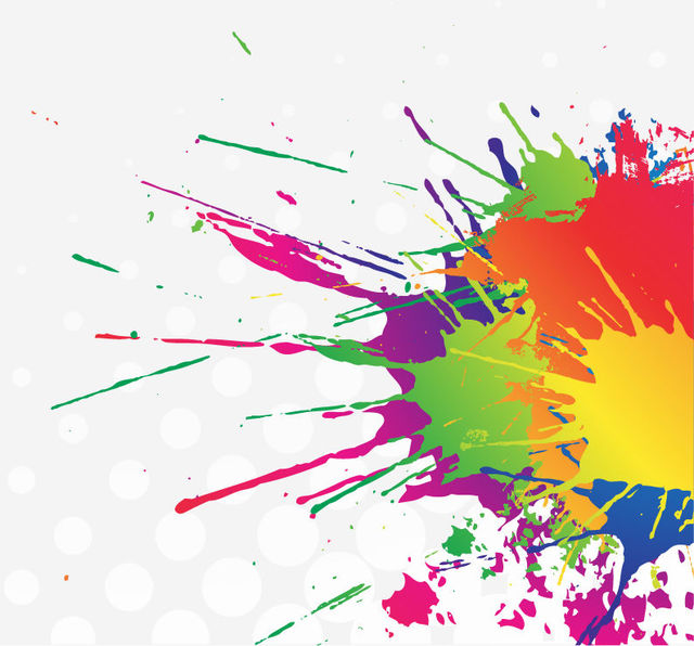 640x596 Free Vectors Colorful Splatter Stain Paint With Halftone The
