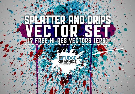 575x400 17 Free Splatter Amp Drips Vectors