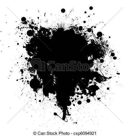 450x470 Black Ink Splatter. Abstract Black Ink Grunge Splat With Room For
