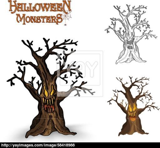 512x474 Halloween Monsters Spooky Tree Illustration Eps10 File Vector