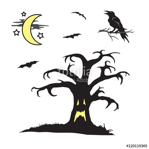 500x500 Halloween Spooky Tree With Face Scene Stock Image And Royalty