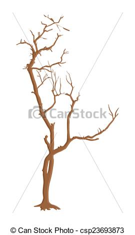 270x470 Retro Old Tree. Abstract Spooky Dead Tree Vector Shape Design.