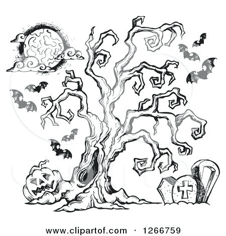 450x470 Spooky Tree Clip Art Of A Black And White Sketched Spooky Tree In