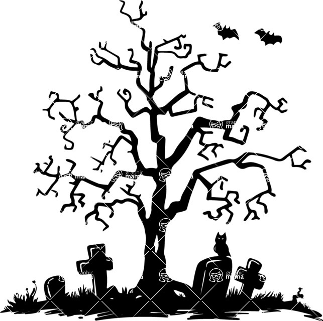 643x640 Spooky Tree In A Graveyard Vector Silhouette Graphicmama