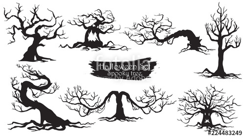 500x281 Spooky Trees Silhouette Collection Of Halloween Vector Isolated On