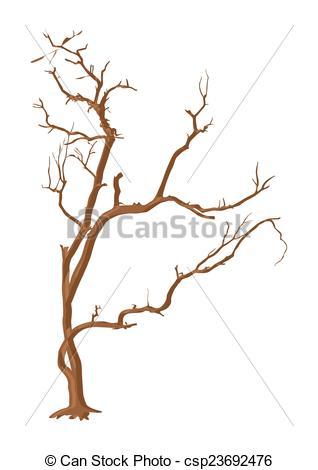318x470 Dry Tree. Abstract Spooky Horrible Halloween Dead Tree Vector