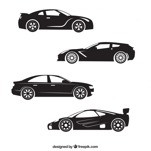 626x626 Silhouettes Of Four Sports Car Vector Free Download