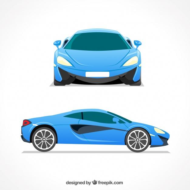 626x626 Elegant Blue Sports Car Vector Free Download
