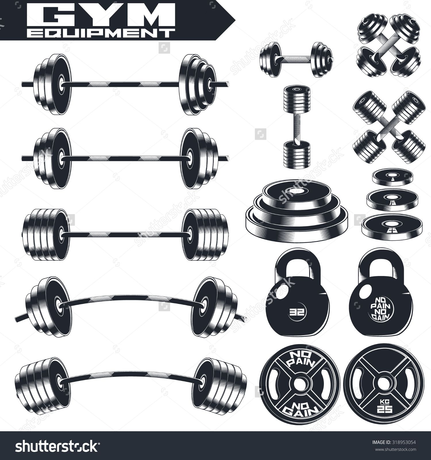 1500x1600 Gym Equipment Of Vintage Fitness. Design Elements. Emblem, Logo