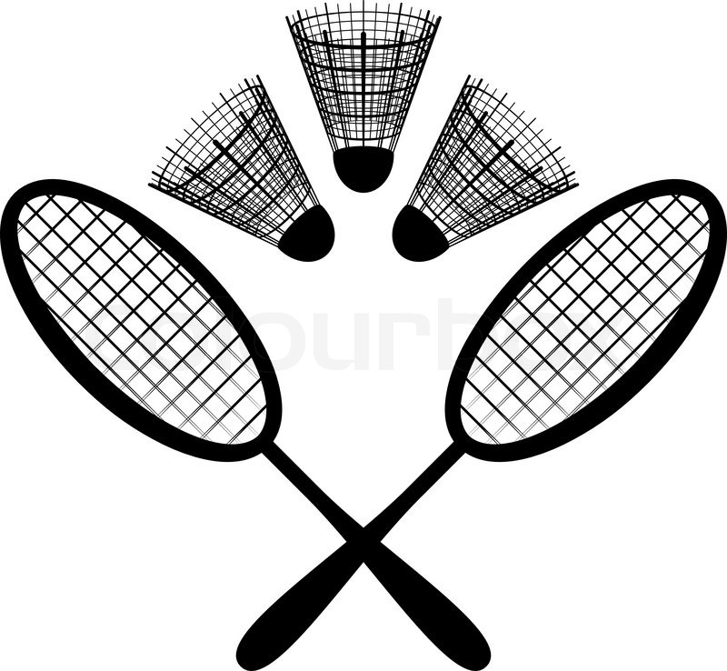 800x738 Set Objects Of Sporting Equipment For Badminton Game Rackets And